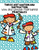 Three Digit Addition and Subtraction With and Without Regrouping Printables