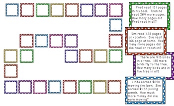 Three-Digit Addition and Subtraction Word Problem Board Game