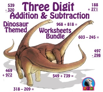 Three Digit Addition and Subtraction Worksheet Bundle - Di