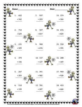 Three Digit Addition and Subtraction Worksheet Bundle - Halloween (60 Pages)