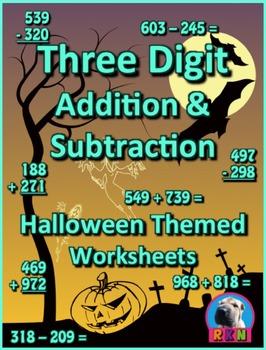 Three Digit Addition and Subtraction Worksheet Bundle - Ha