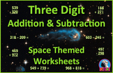 Three Digit Addition and Subtraction Worksheet Bundle - Space (60 Pages)