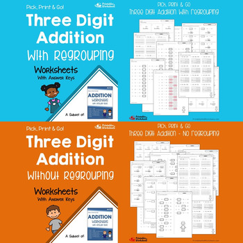 Three Digit Addition and Subtraction No Regrouping, With Regrouping Worksheets