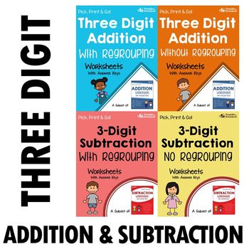 Add And Subtract 3 Digit Numbers Worksheet, With And No Regrouping Bundle