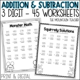 3 Digit Addition and Subtraction Worksheets With and Witho
