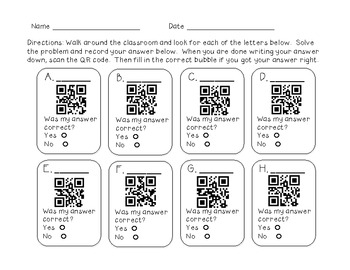 Three Digit Addition with QR Codes