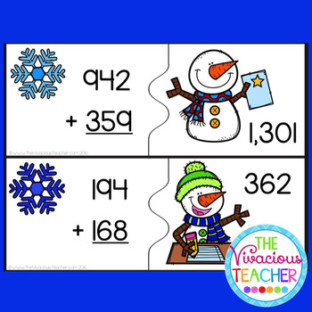 Snowman Three Digit Addition with Regrouping Matching Game