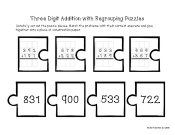 Three Digit Addition with Regrouping Practice Page, Activities, and Center