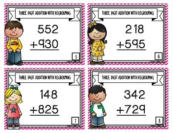 Three Digit Addition with Regrouping {Task Cards}