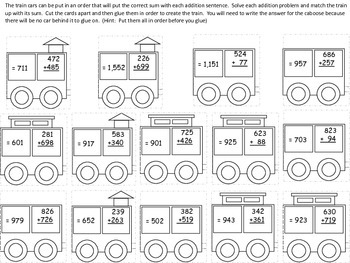 Three Digit Addition with Regrouping Train