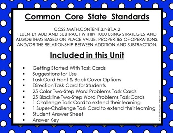 Three-Digit Addition without Regrouping Task Cards