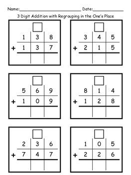 3 Digit Addition worksheets- WITH Regrouping