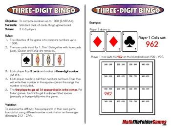 Three-Digit Bingo - 2nd Grade Math Game [CCSS 2.NBT.A.4]