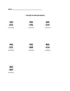 Three Digit Borrowing Across Zero - Set #1