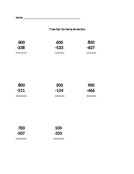 Three Digit Borrowing Across Zero - Set #3