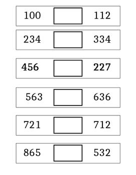 Three Digit Comparing Numbers Flip Cards