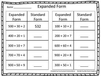 Three Digit Expanded Form