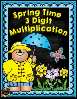 Three Digit Multiplication Spring Themed
