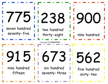 Three Digit Number Flashcards