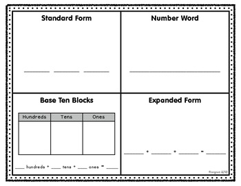Three Digit Number Forms (Four Square)