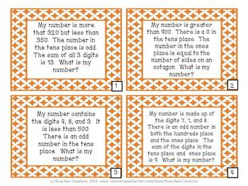 Three Digit Number Riddles - Place Value Math Center
