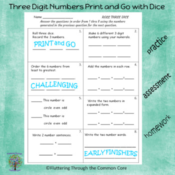 Three Digit Numbers Print and Go with Dice