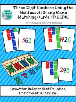 Three Digit Numbers Using The Montessori Stamp Game Matching