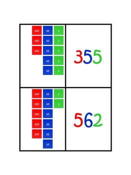 Three Digit Numbers Using the Montessori Stamp Game Matching Cards FREEBIE