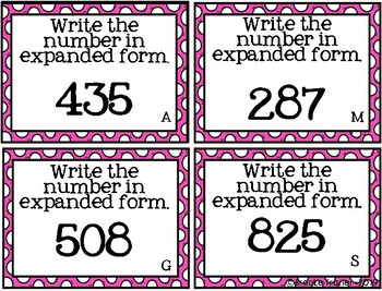 Three Digit Place Vale Task Cards
