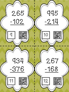 Three Digit Subtraction - 28 Task Cards with QR Codes for Self-Checking