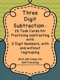 Three Digit Subtraction - 28 Task Cards with QR Codes for