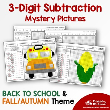 Back To School, Fall - Three Digit Subtraction Coloring Sheets