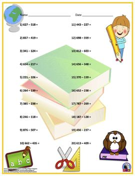 Three Digit Subtraction - Back To School Themed Worksheets - Horizontal 15 Pages