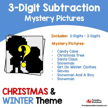 Christmas, Winter Three Digit Subtraction Coloring Activity