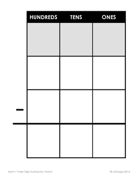 Three Digit Subtraction Frame