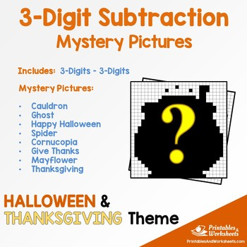 Halloween, Thanksgiving Three Digit Subtraction Coloring Activity
