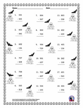 Three Digit Subtraction - Halloween Themed Worksheets - (15 pages)