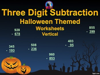 Three Digit Subtraction - Halloween Themed Worksheets - (1