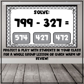 Three Digit Subtraction Interactive PDF