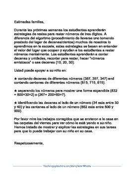 Three-Digit Subtraction Letter to Families in English and Spanish
