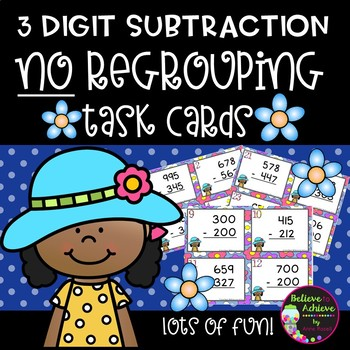 Three-Digit Subtraction NO Regrouping Task Cards