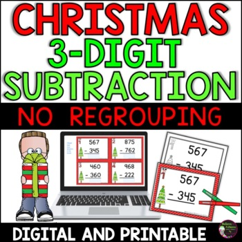 Three-Digit Subtraction NO regrouping task cards (Christmas theme)
