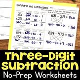 Three-Digit Subtraction No-Prep Printable Practice Worksheets