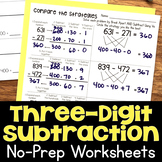 Three-Digit Subtraction No-Prep Printable Practice Worksheets