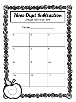 Three Digit Subtraction Problem Task Cards. Math Centers