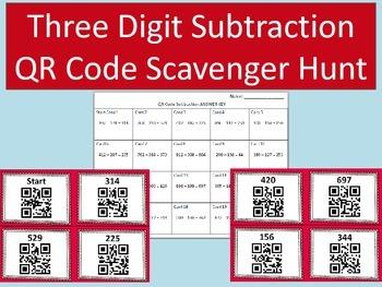 Three Digit Subtraction QR Code Scavenger Hunt