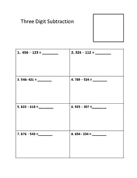 Three Digit Subtraction- Self Checking