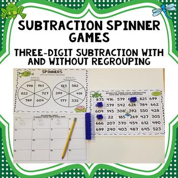 Three Digit Subtraction Spinner Game