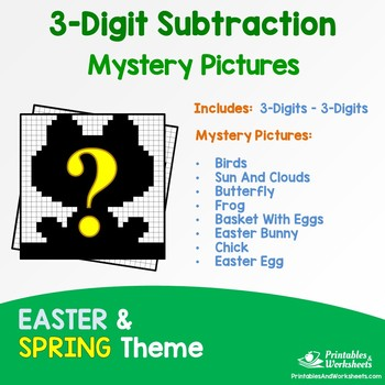 Three Digit Subtraction - Spring, Easter