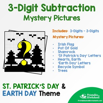 Three Digit Subtraction - St. Patrick's Day, Earth Day